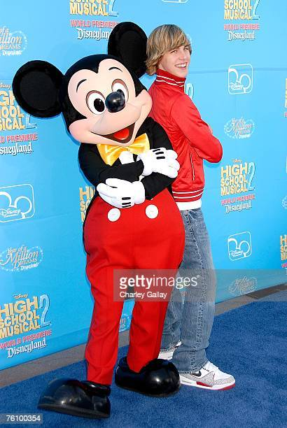 Actor Cody Linley and character Mickey Mouse arrive to the world premiere of Disney Channel's 'High School Musical 2' held at the Downtown Disney...