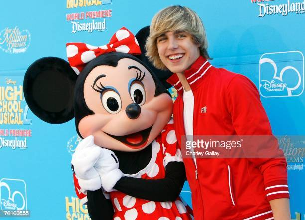 Actor Cody Linley and character Minnie Mouse arrive to the world premiere of Disney Channel's 'High School Musical 2' held at the Downtown Disney...