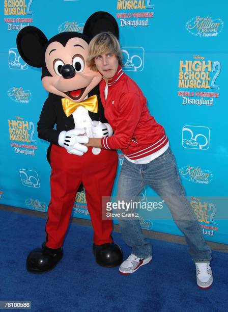Actor Cody Linley and Micky Mouse arrive at the premiere of 'High School Musical 2' at the Downtown Disney District at Disneyland Resort on August 14...