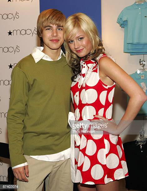 Actor Cody Linley and singer/actress Brie Larson attend the Stars of New Line Cinemas' 'Hoot' at Macy's Herald Square on April 22 2006 in New York...