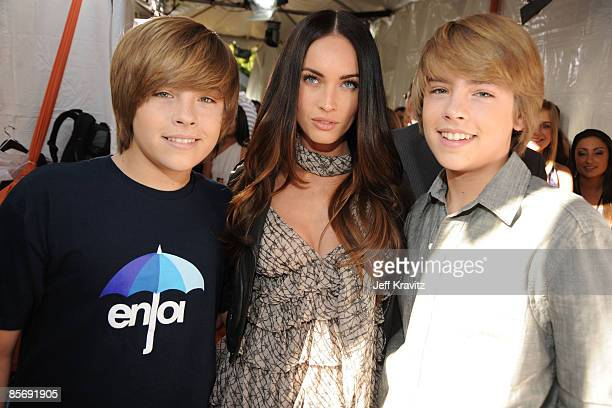Actor Cole Sprouse actress Megan Fox and actor Dylan Sprouse arrive at Nickelodeon's 2009 Kids' Choice Awards at UCLA's Pauley Pavilion on March 28...