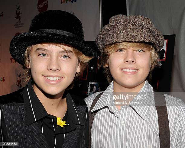 Actor Cole Sprouse and actor Dylan Sprouse attend the CAAF Dream Halloween Fundraiser at the Barker Hanger on October 24 2009 in Santa Monica...