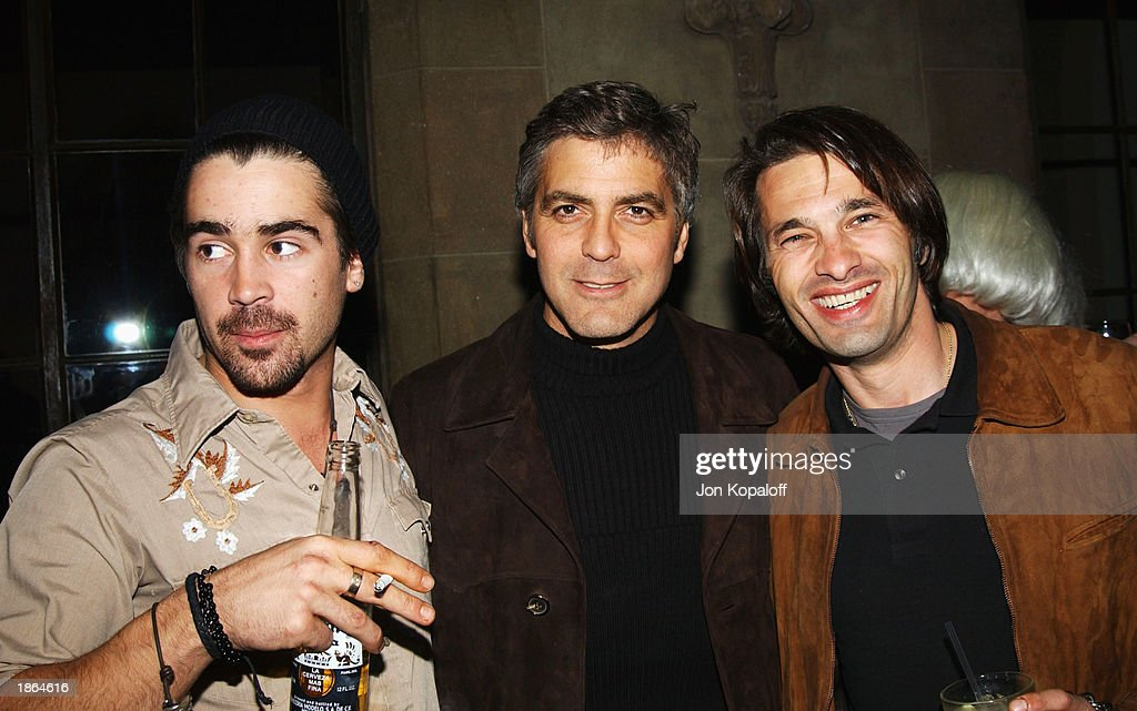Actor Colin Farrell actor/producer George Clooney and actor Olivier Martinez chat at Killer Films Cinetic Media Section Eight and John Wells...