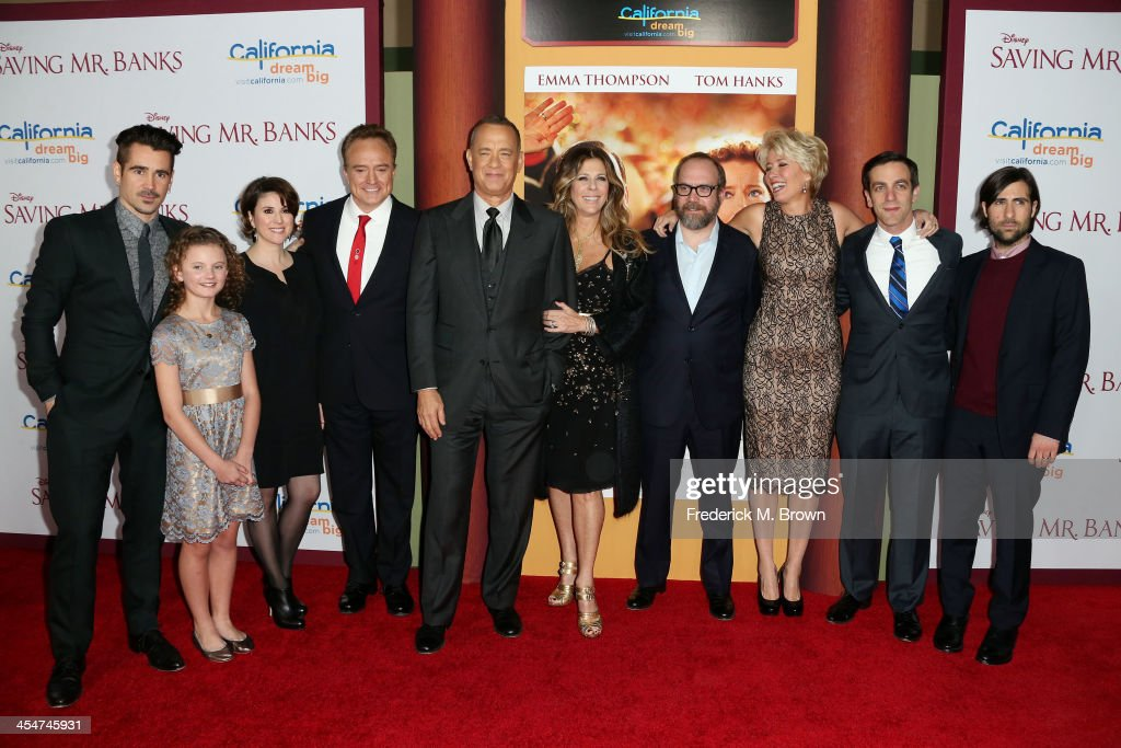 Actor Colin Farrell, actress Annie Rose Buckley, actresss Melanie Paxton, actor Bradley Whitford, actor Tom Hanks, producer Rita Wilson, actor Paul Giamatti, actress Emma Thompson, actor B. J. Novak and actor Jason Schwartzman attend the Premiere of Disney's 'Saving Mr. Banks' at Walt Disney Studios on December 9, 2013 in Burbank, California.