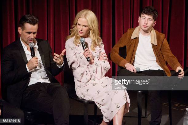 Actor Colin Farrell actress Nicole Kidman and actor Barry Keoghan on stage during The Academy of Motion Picture Arts Sciences official academy...