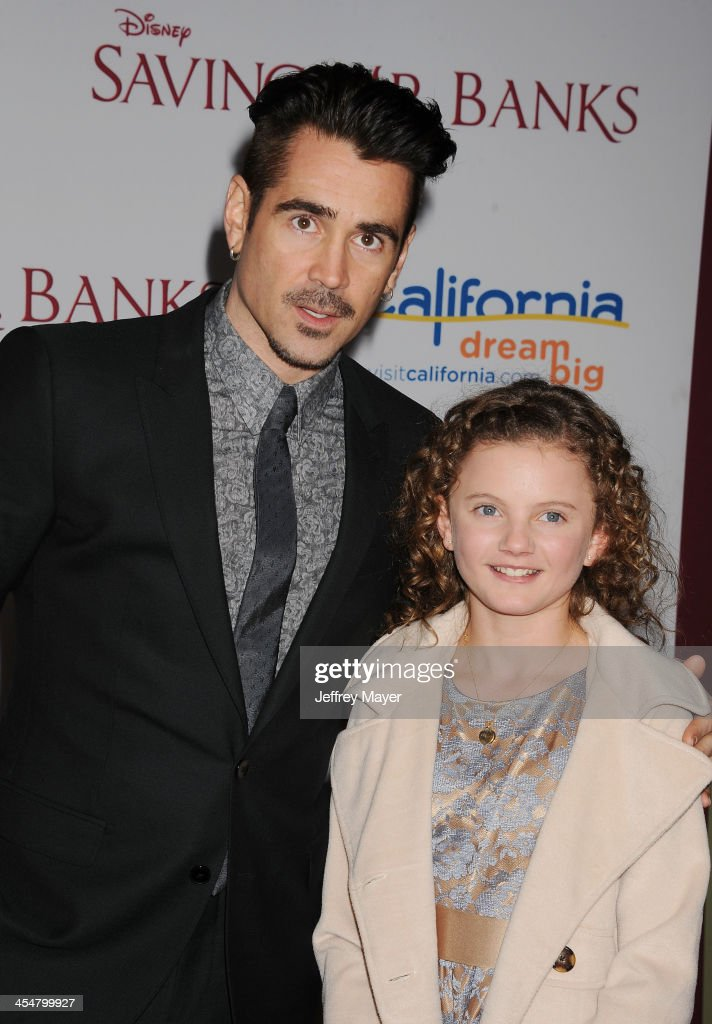 Actor <a gi-track='captionPersonalityLinkClicked' href=/galleries/search?phrase=Colin+Farrell&family=editorial&specificpeople=202154 ng-click='$event.stopPropagation()'>Colin Farrell</a> (L) and actress Annie Rose Buckley arrive at the 'Saving Mr. Banks' - Los Angeles Premiere at Walt Disney Studios on December 9, 2013 in Burbank, California.