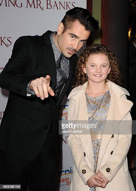 Actor Colin Farrell and actress Annie Rose Buckley attend the premiere of 'Saving Mr Banks' at Walt Disney Studios on December 9 2013 in Burbank...