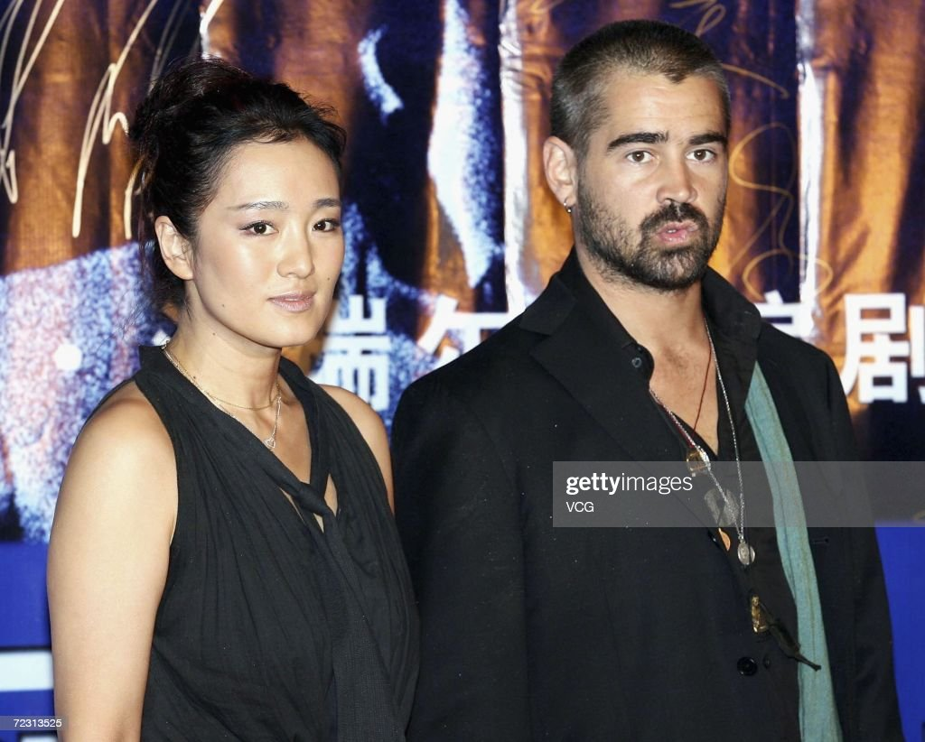 Actor Colin Farrell (R) and Chinese actress Gong Li attend the premiere of the film Miami Vice on October 30, 2006 in Beijing, China.