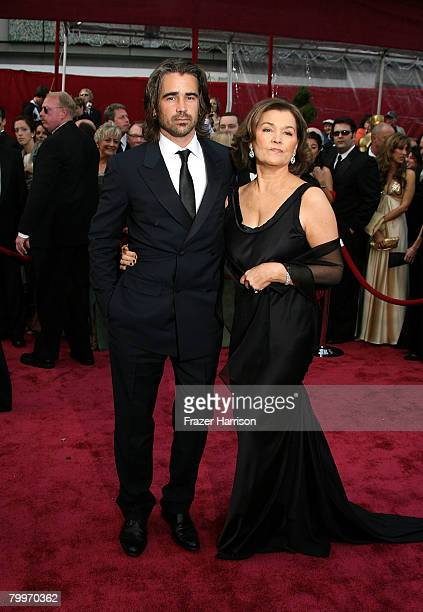 Actor Colin Farrell and his mom Rita arrive at the 80th Annual Academy Awards held at the Kodak Theatre on February 24 2008 in Hollywood California