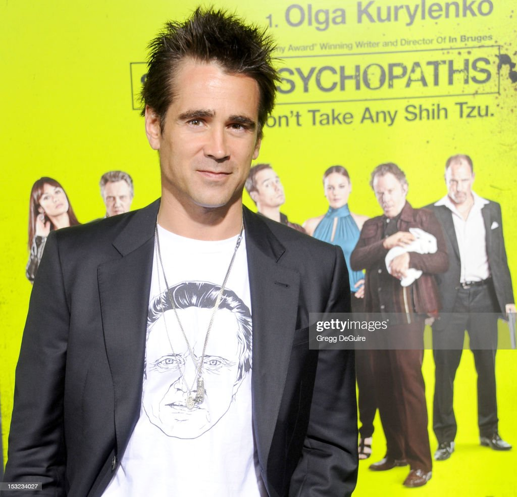 Actor <a gi-track='captionPersonalityLinkClicked' href=/galleries/search?phrase=Colin+Farrell&family=editorial&specificpeople=202154 ng-click='$event.stopPropagation()'>Colin Farrell</a> arrives at the Los Angeles premiere of 'Seven Psychopaths' at Mann Bruin Theatre on October 1, 2012 in Westwood, California.