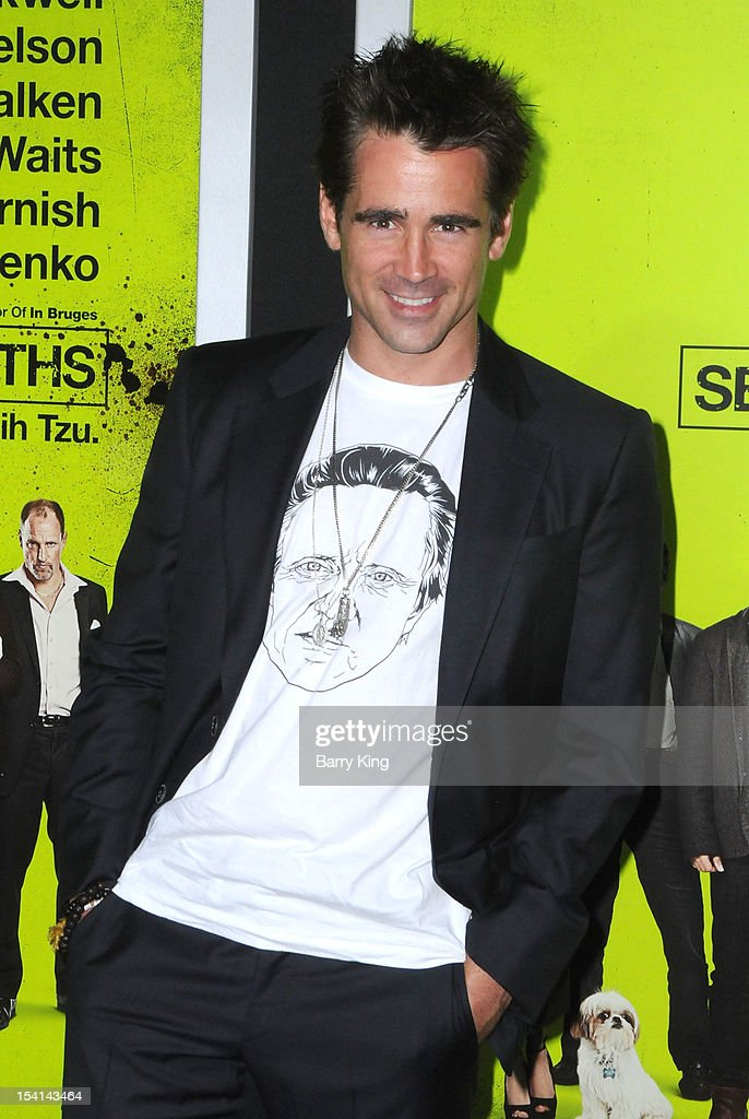 Actor <a gi-track='captionPersonalityLinkClicked' href=/galleries/search?phrase=Colin+Farrell&family=editorial&specificpeople=202154 ng-click='$event.stopPropagation()'>Colin Farrell</a> arrives at the Los Angeles Premiere 'Seven Psychopaths' at Mann Bruin Theatre on October 1, 2012 in Westwood, California.