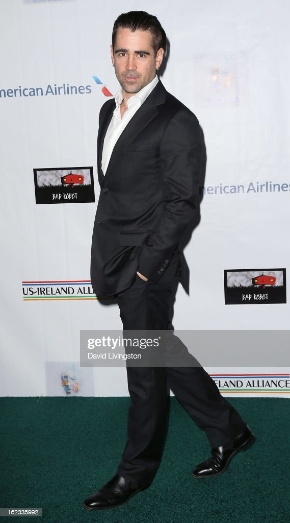 Actor <a gi-track='captionPersonalityLinkClicked' href=/galleries/search?phrase=Colin+Farrell&family=editorial&specificpeople=202154 ng-click='$event.stopPropagation()'>Colin Farrell</a> attends the 8th Annual 'Oscar Wilde: Honoring The Irish In Film' Pre-Academy Awards Event at Bad Robot on February 21, 2013 in Santa Monica, California.
