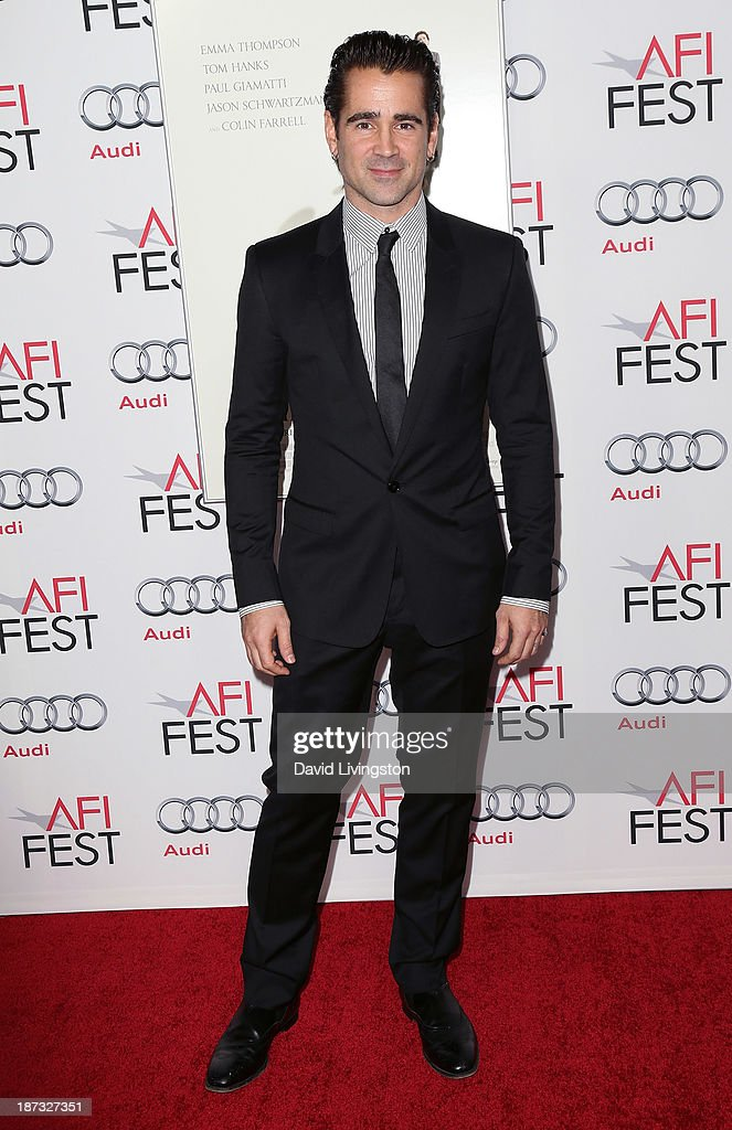 Actor <a gi-track='captionPersonalityLinkClicked' href=/galleries/search?phrase=Colin+Farrell&family=editorial&specificpeople=202154 ng-click='$event.stopPropagation()'>Colin Farrell</a> attends the AFI FEST 2013 presented by Audi premiere of Walt Disney Pictures' 'Saving Mr. Banks' at TCL Chinese Theatre on November 7, 2013 in Hollywood, California.