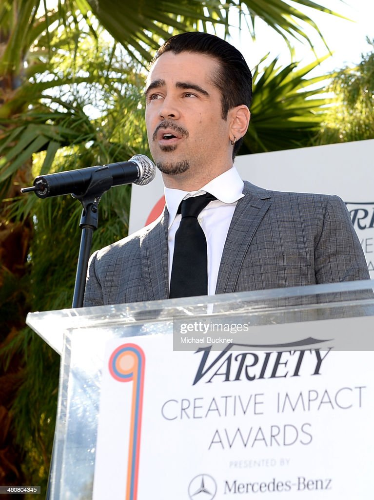 Actor <a gi-track='captionPersonalityLinkClicked' href=/galleries/search?phrase=Colin+Farrell&family=editorial&specificpeople=202154 ng-click='$event.stopPropagation()'>Colin Farrell</a> attends Variety's Creative Impact Awards and 10 Directors to Watch brunch presented by Mercedes-Benz at The 25th Annual Palm Springs International Film Festival at Parker Palm Springs on January 5, 2014 in Palm Springs, California.