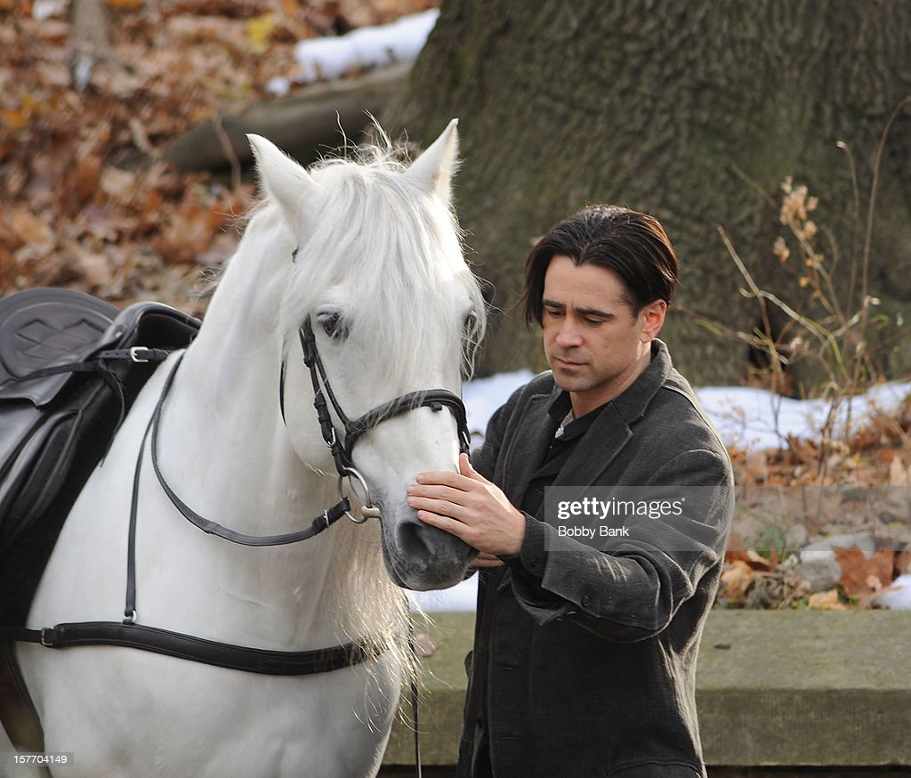 Actor <a gi-track='captionPersonalityLinkClicked' href=/galleries/search?phrase=Colin+Farrell&family=editorial&specificpeople=202154 ng-click='$event.stopPropagation()'>Colin Farrell</a> filming on location for 'Winter's Tale' on December 5, 2012 in the Brooklyn borough of New York City.