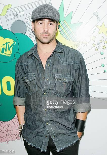 Actor Colin Farrell poses backstage after an appearance on MTV's Total Request Live to promote his new film ''Miami Vice'' at MTV Studios July 24...