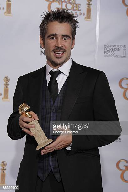 Actor Colin Farrell poses in the press room at the 66th Annual Golden Globe Awards held at the Beverly Hilton Hotel on January 11 2009 in Hollywood...
