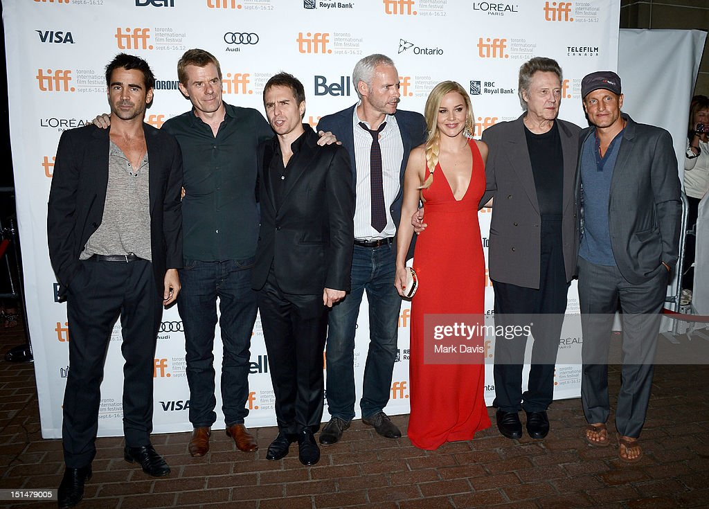 Actor Colin Farrell, producer Graham Broadbent, actor Sam Rockwell, filmmaker Martin McDonagh, and actors Abbie Cornish, Christopher Walken and Woody Harrelson attend 'Seven Psychopaths' premiere during the 2012 Toronto International Film Festival at Ryerson Theatre on September 7, 2012 in Toronto, Canada.