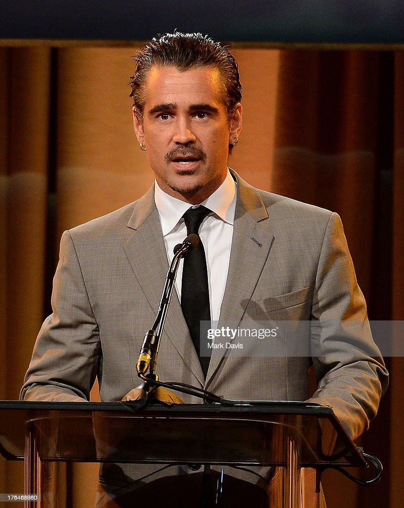 Actor <a gi-track='captionPersonalityLinkClicked' href=/galleries/search?phrase=Colin+Farrell&family=editorial&specificpeople=202154 ng-click='$event.stopPropagation()'>Colin Farrell</a> speaks onstage at the Hollywood Foreign Press Association's 2013 Installation Luncheon at The Beverly Hilton Hotel on August 13, 2013 in Beverly Hills, California.