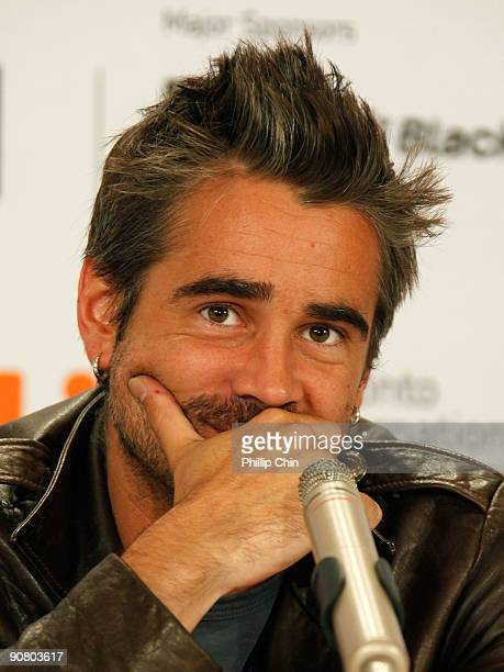 Actor Colin Farrell speaks onstage at the 'Ondine' press conference held at the Sutton Place Hotel on September 15 2009 in Toronto Canada
