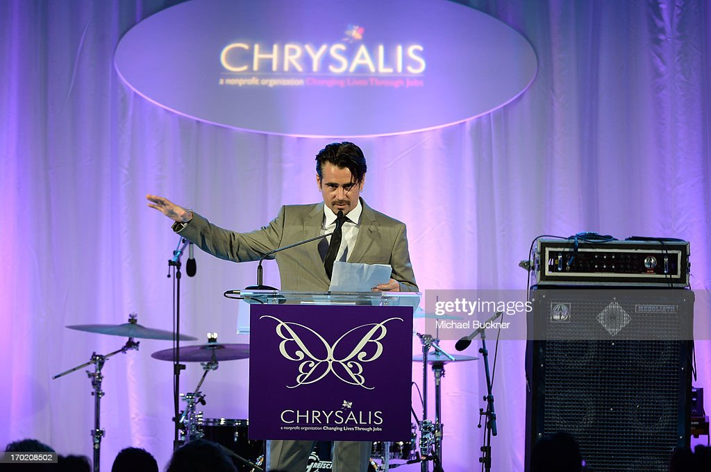 Actor Colin Farrell speaks onstage during the 12th Annual Chrysalis Butterfly Ball on June 8, 2013 in Los Angeles, California.
