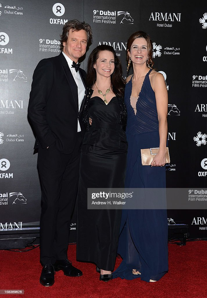 Actor Colin Firth, actress Kirstin Davis and Livia Firth attend the 2012 Dubai International Film Festival, Dubai Cares and Oxfam 'One Night to Change Lives' Charity Gala at the Armani Hotel on December 14, 2012 in Dubai, United Arab Emirates.