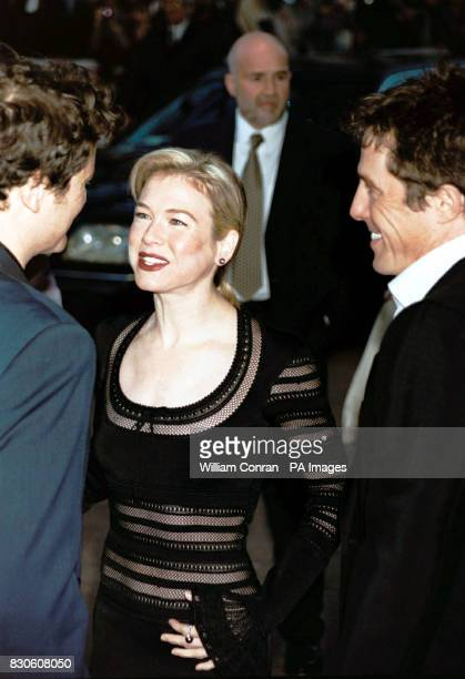 Actor Colin Firth actress Renee Zellweger and actor Hugh Grant stars of the film 'Bridget Jones's Diary' arriving for its UK premiere at the Empire...