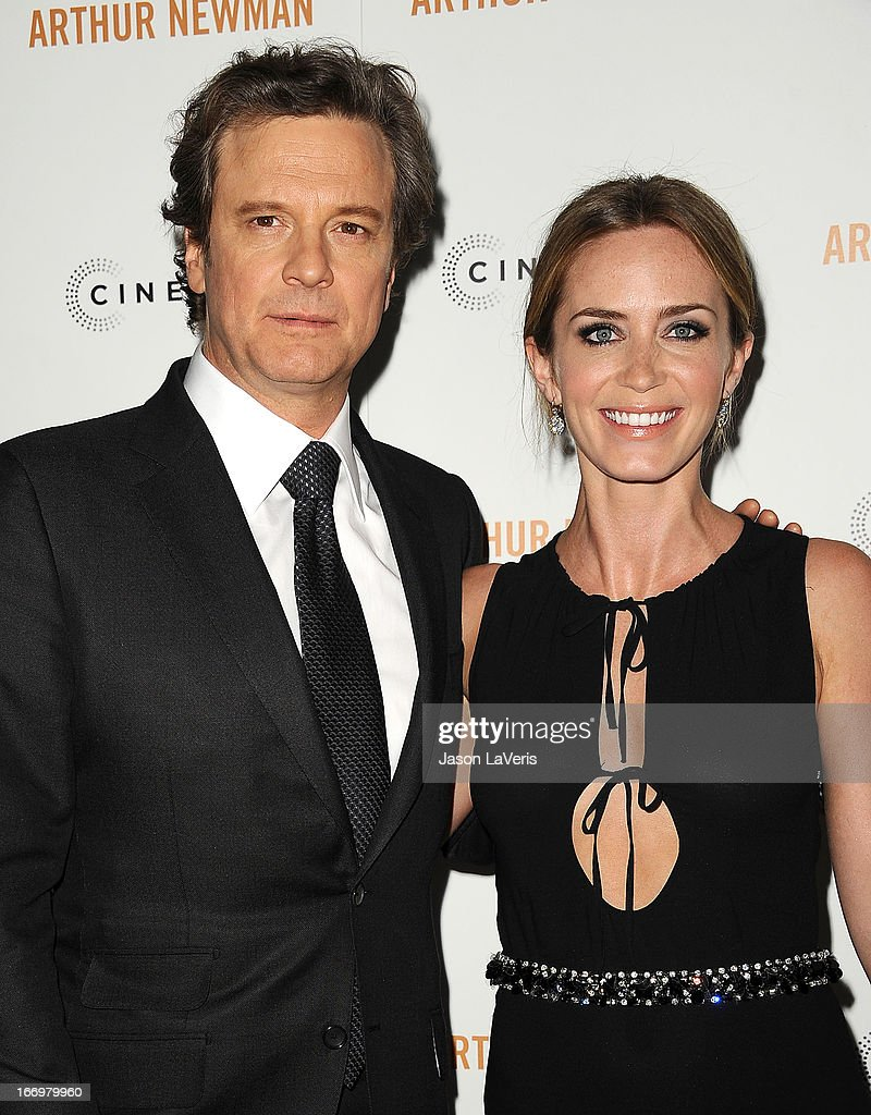 Actor Colin Firth and actress Emily Blunt attend the premiere of 'Arthur Newman' at ArcLight Hollywood on April 18, 2013 in Hollywood, California.