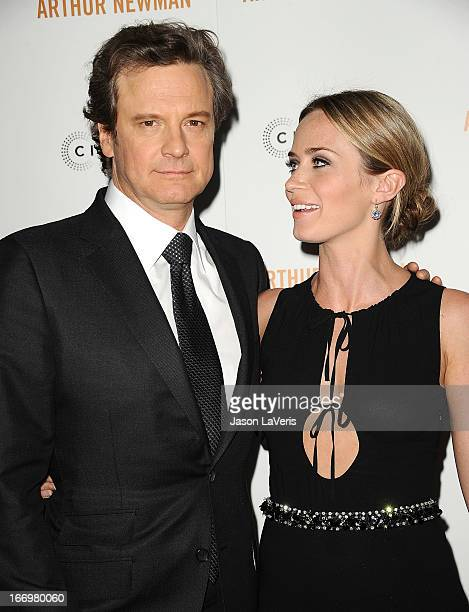 Actor Colin Firth and actress Emily Blunt attend the premiere of 'Arthur Newman' at ArcLight Hollywood on April 18 2013 in Hollywood California