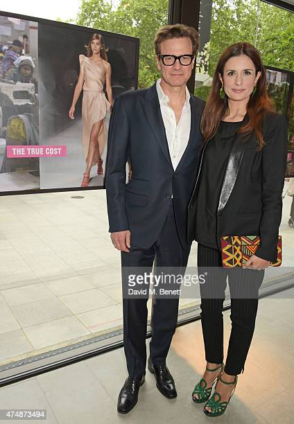 Actor Colin Firth and Executive Producer Livia Firth attend the London premiere of 'The True Cost' at the Curzon Bloomsbury on May 27 2015 in London...