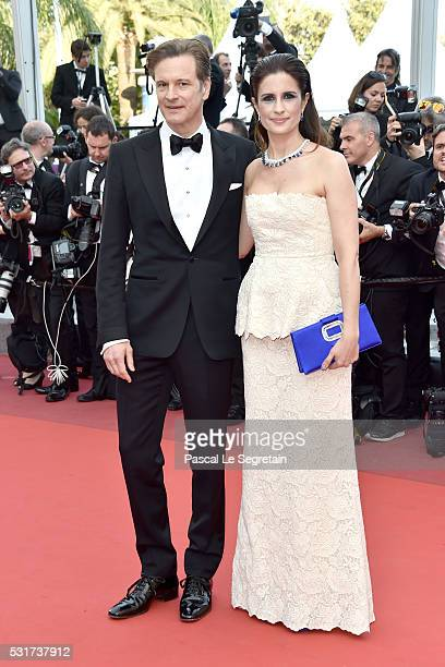 Actor Colin Firth and Livia Firth attend the 'Loving' premiere during the 69th annual Cannes Film Festival at the Palais des Festivals on May 16 2016...