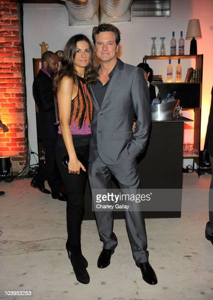 Actor Colin Firth and Livia Giuggioli attend Colin Firth's 50th birthday party at Grey Goose Soho House Club during the 2010 Toronto International...