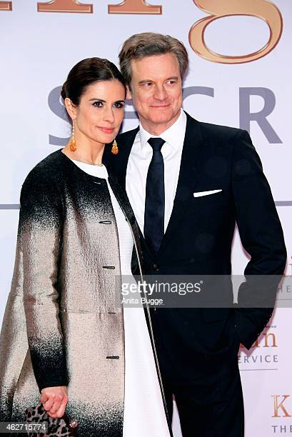 Actor Colin Firth and Livia Giuggioli attend the 'Kingsman The Secret Service' Germany Premiere at CineStar on February 3 2015 in Berlin Germany