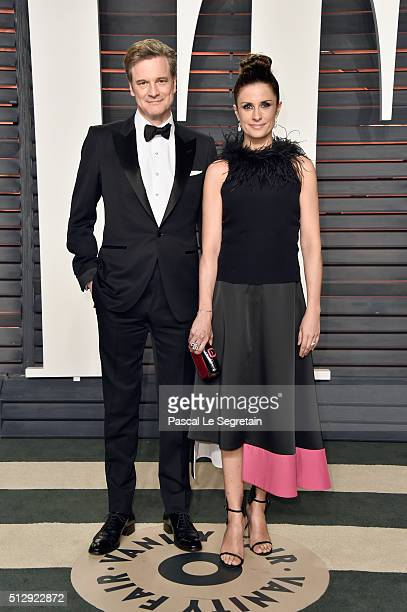Actor Colin Firth and producer Livia Giuggioli attend the 2016 Vanity Fair Oscar Party Hosted By Graydon Carter at the Wallis Annenberg Center for...