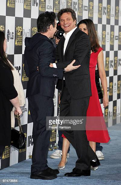 Actor Colin Firth and wife Livia Giuggioli arrives at the 25th Film Independent's Spirit Awards held at Nokia Event Deck at LA Live on March 5 2010...