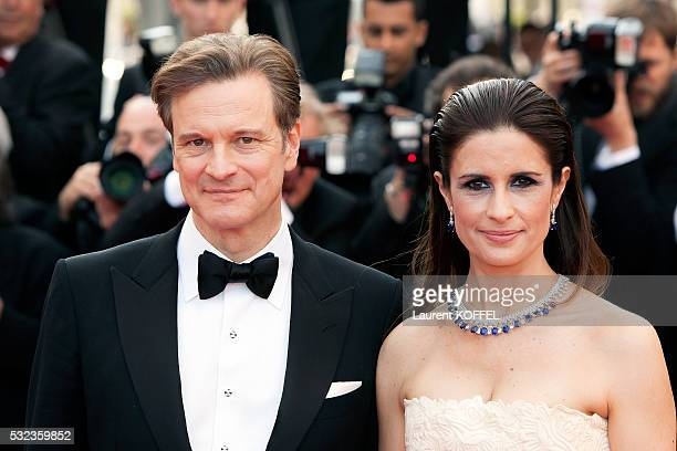 Actor Colin Firth and wife Livia Giuggioli Firth attend the 'Loving' red carpet arrivals during the 69th annual Cannes Film Festival at the Palais...