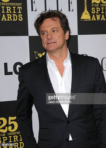 Actor Colin Firth arrives at the 25th Film Independent's Spirit Awards held at Nokia Event Deck at LA Live on March 5 2010 in Los Angeles California