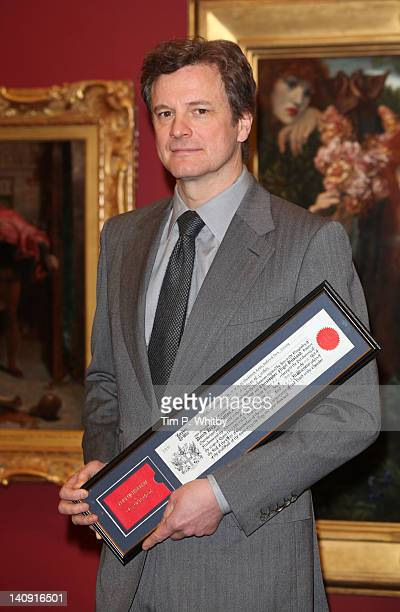 Actor Colin Firth attends a photocall as he is made a Freeman of the City of London at Guildhall Art Gallery on March 8 2012 in London England
