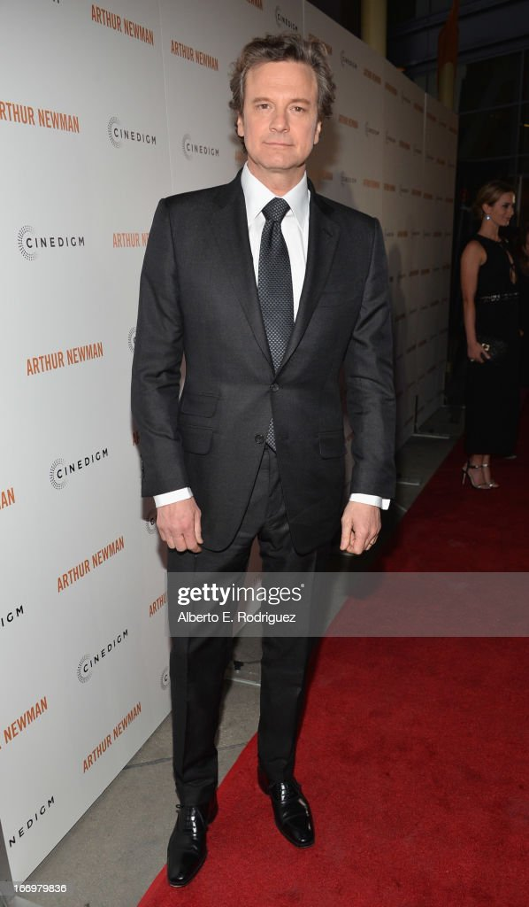 Actor <a gi-track='captionPersonalityLinkClicked' href=/galleries/search?phrase=Colin+Firth&family=editorial&specificpeople=201620 ng-click='$event.stopPropagation()'>Colin Firth</a> attends the premiere of Cinedigm's 'Arthur Newman' at ArcLight Hollywood on April 18, 2013 in Hollywood, California.