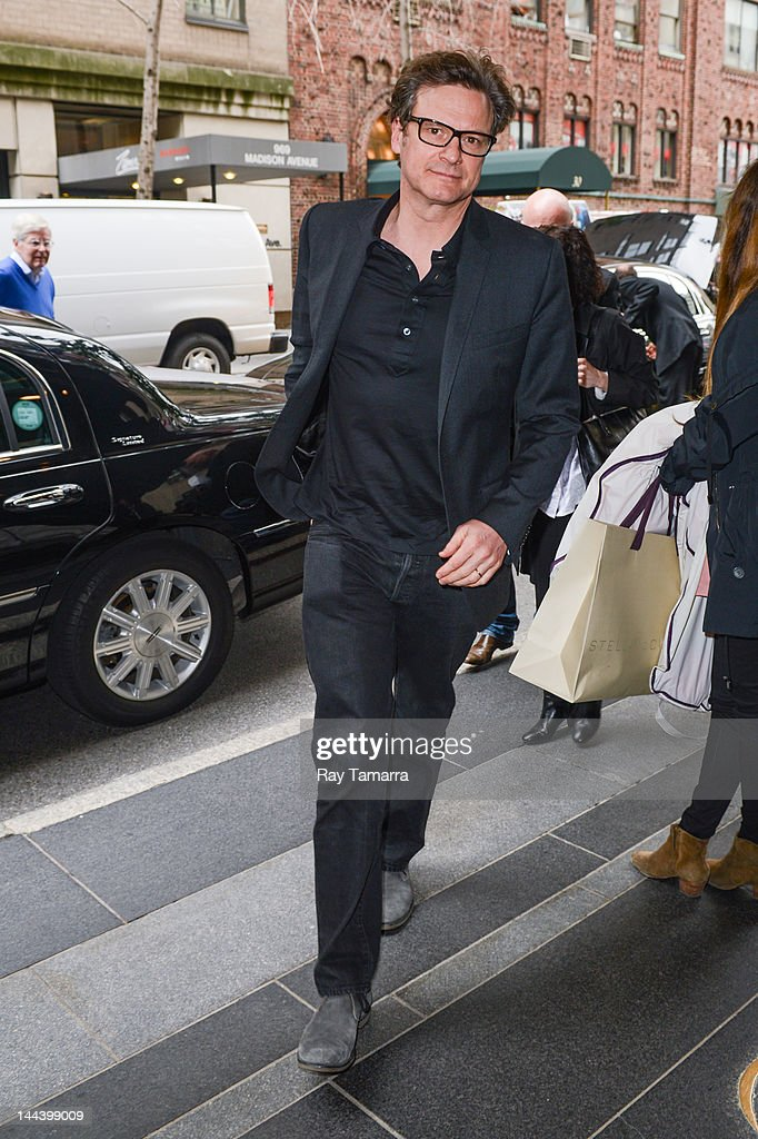 Actor Colin Firth enters the Carlyle Hotel on May 7, 2012 in New York City.