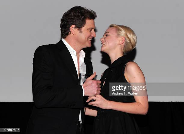 Actor Colin Firth is presented with his Variety 'International Star of the Year' Award by actress Carey Mulligan during day two of the 7th Annual...