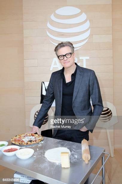 Actor Colin Firth poses at ATT's Jon Vinny's popup pizza bar at the 2017 Film Independent Spirit Awards sponsored by ATT at Santa Monica Pier on...