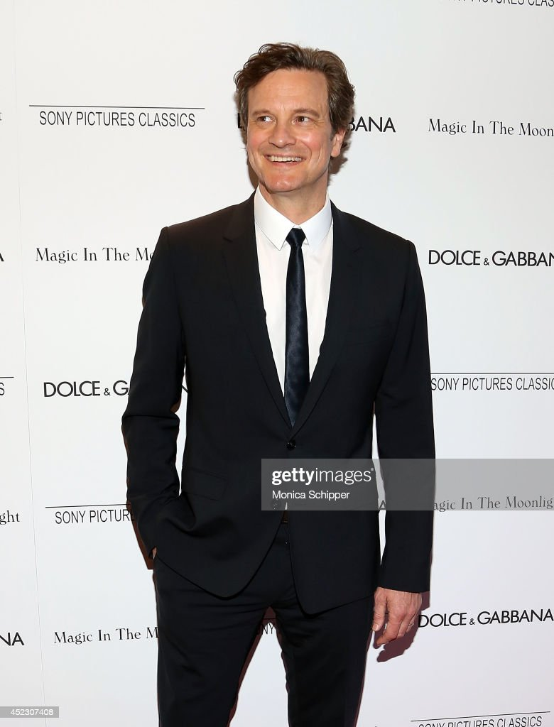 Actor <a gi-track='captionPersonalityLinkClicked' href=/galleries/search?phrase=Colin+Firth&family=editorial&specificpeople=201620 ng-click='$event.stopPropagation()'>Colin Firth</a>, wearing Dolce & Gabbana, attends 'Magic In The Moonlight' premiere at Paris Theater on July 17, 2014 in New York City.