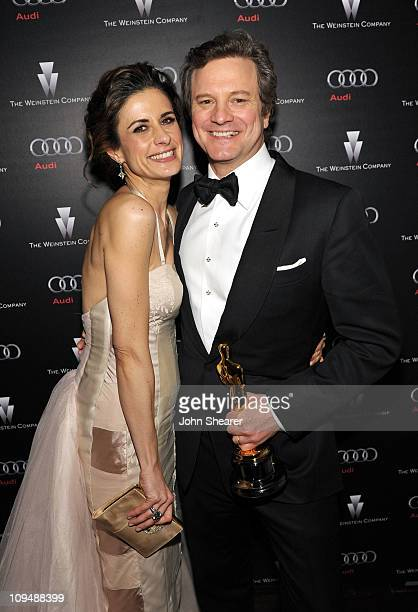 Actor Colin Firth winner of the award for Best Actor and wife Livia Giuggioli attend the Weinstein Company's celebration for Best Picture winner 'The...