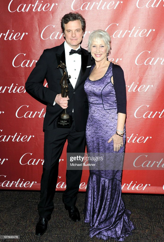 Actor <a gi-track='captionPersonalityLinkClicked' href=/galleries/search?phrase=Colin+Firth&family=editorial&specificpeople=201620 ng-click='$event.stopPropagation()'>Colin Firth</a>, winner of the Desert Palm Achievement Actor Award, poses with Dame <a gi-track='captionPersonalityLinkClicked' href=/galleries/search?phrase=Helen+Mirren&family=editorial&specificpeople=201576 ng-click='$event.stopPropagation()'>Helen Mirren</a> backstage at the 22nd Annual Palm Springs International Film Festival Awards Gala at the Palm Springs Convention Center on January 8, 2011 in Palm Springs, California.
