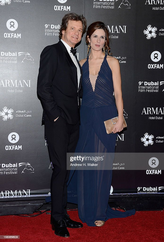 Actor Colin Firth with his wife Livia attend the 2012 Dubai International Film Festival, Dubai Cares and Oxfam 'One Night to Change Lives' Charity Gala at the Armani Hotel on December 14, 2012 in Dubai, United Arab Emirates.