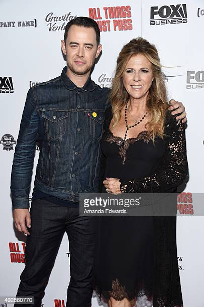 Actor Colin Hanks and actress Rita Wilson arrive at the premiere of Gravitas Ventures' 'All Things Must Pass' at the Harmony Gold Theatre on October...
