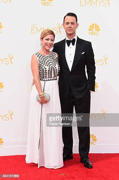 Actor Colin Hanks and Samantha Bryant attend the 66th Annual Primetime Emmy Awards held at Nokia Theatre LA Live on August 25 2014 in Los Angeles...