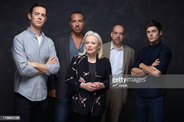 Actor Colin Hanks director Peter Landesman actress Jacki Weaver actor Paul Giamatti and actor Zac Efron of 'Parkland' pose at the Guess Portrait...