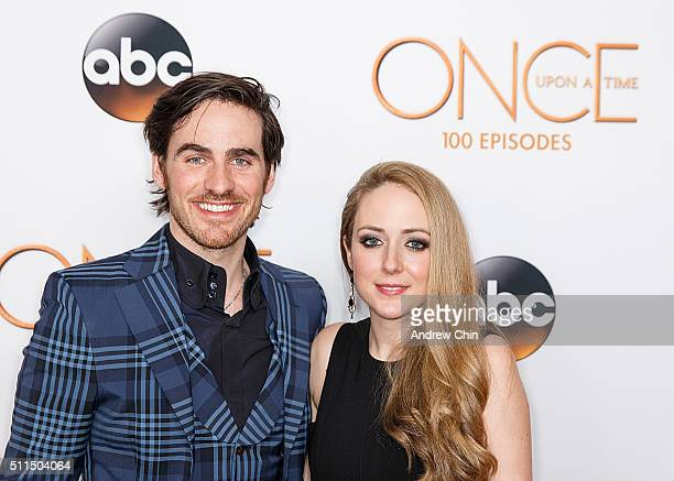 Actor Colin O'Donoghue and his wife Helen O'Donoghue attend the 100th episode celebration of 'Once Upon A Time' at Storybrooke Cannery on February 20...